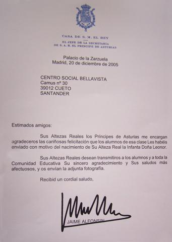 Carta de agradecimiento de Don Felipe y Doña Leticia